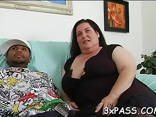 Boy and fattie are having wonderful oral fun before camera
