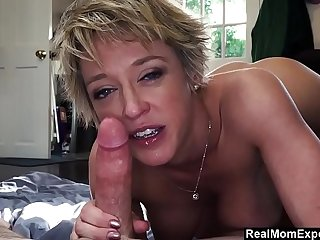Blowjob and ballsucking by religious Mom