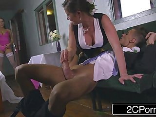 Slutty Bridesmaid Mea Malone and Horny Mother-In-Law Cathy Heaven Give Blowjob
